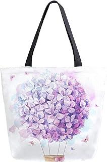 HMZXZ RXYY Aquarell lila Ballon Hortensie Segeltuch Tasche Schwer Pflicht Groß Frauen Beiläufig Schulter Tasche Handtasche Wiederverwendbar Einkaufen Tasche Bag für Draußen Reise