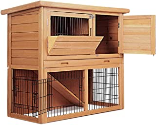 Chicken Coop Rabbit Hutch Guinea Pig Ferret Tray Cage Hen House 2 Storey Feeder