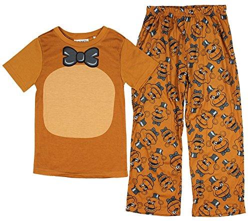 Five Nights at Freddys Boys Girls Freddy 2 Piece Costume Pajama Set (Medium - 6)