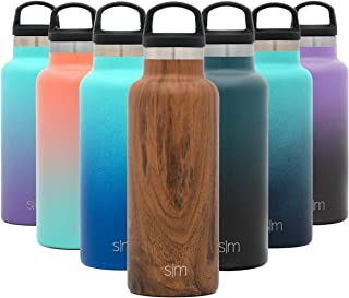 Simple Modern 17oz Ascent Water Bottle - Stainless Steel Flask w/Handle Lid - Hydro Double Wall Tumbler Vacuum Insulated Small Reusable Metal Leakproof Pattern: Wood Grain
