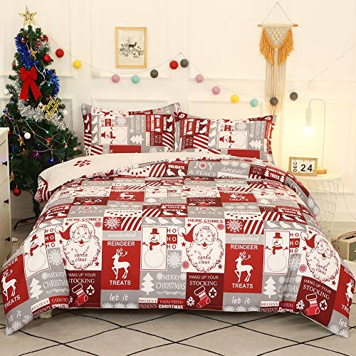 ADASMILE A & S Christmas Bedding Set Santa Claus and Reindeer Pattern Duvet Cover for Christmas New Year Holiday Snowman and Snowflake Printed Soft Microfiber Comforter Cover Queen Size