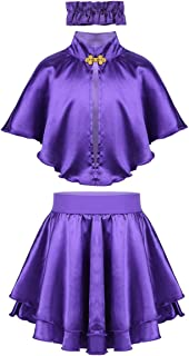ACSUSS Kids Girls Circus Ringmaster Halloween Cosplay Costume Trapeze Cape Tops with Pleated Skirt Wristband Outfits