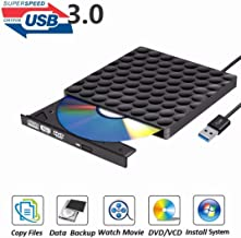 PiAEK 8541609112 External DVD Drive USB 3.0 Burner,Optical CD DVD RW Row Reader Writer Player Portable for PC Mac OS Windows 10 7 8 XP Vista (Black)