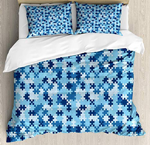 LREFON Lightweight Breathable Warm 3-Piece Bedding Set 86'X70' Puzzle Monochrome Geometric with Separate s Twin Size Comforter
