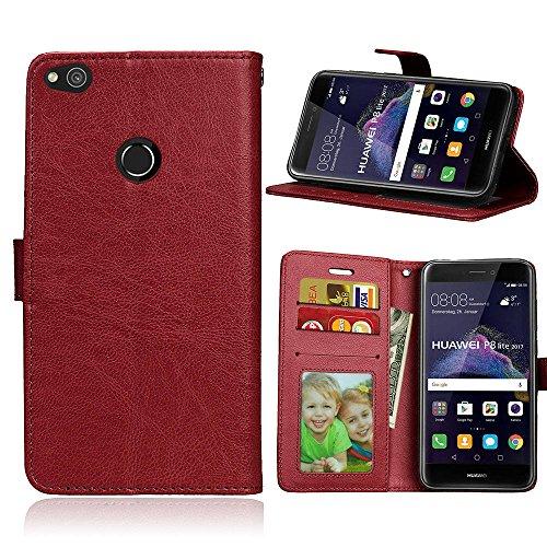 Funda Huawei P8 Lite 2017/Honor 8 Lite/P9 Lite 2017,Bookstyle 3 Card Slot PU Cuero Cartera para TPU Silicone Case Cover-Castaño