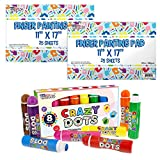 U.S. Art Supply 8 Color Crazy Dots Markers - Children's Washable Easy Grip Non-Toxic Paint Marker Daubers Bundled with Large (Pack of 2 Pads) 11' x 17' Finger Painting Paper Pad