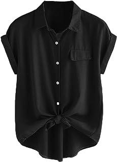 Women's Plus Size Casual Short Sleeve Button Down T...