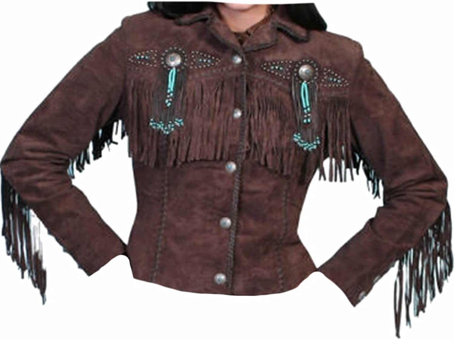 Classyak Women's Fringed and Beaded Suede Leather Jacket