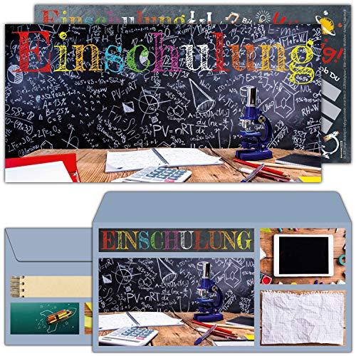 12-er Set Einschulung Einladungskarten mit Umschlag TAFEL - Einladungen für Kinder zum Schulbeginn Schuleingang Schulanfang Karten von BREITENWERK