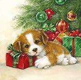20 Servietten Hund am Weihnachtsbaum als festliche Tischdeko für Weihnachten 33x33cm
