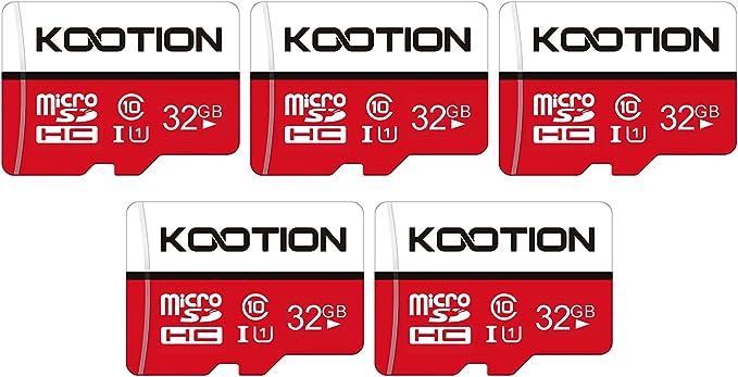 1648 opinioni per Scheda Micro SD 32GB Classe 10, KOOTION Memoria MicroSD 32 Giga 5 Pezzi Scheda