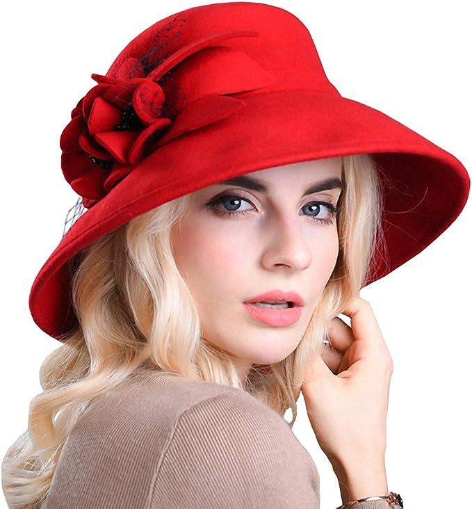 1950s Women's Hat Styles & History Maitose Womens Wide Brim Wool Felt Bowler Hat  AT vintagedancer.com
