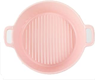 Ceramic Bakeware Solid Color Kitchen Household Binaural Round Bakeware For Cooking, Kitchen, Cake Dinner And Daily Use Pink