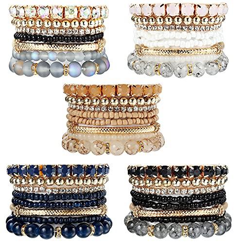 XCOIN 5 Sets Stackable Bracelets for Women Multilayer Beaded Bracelets Set Multicolor Stretch Bangles Bohemian Style,A
