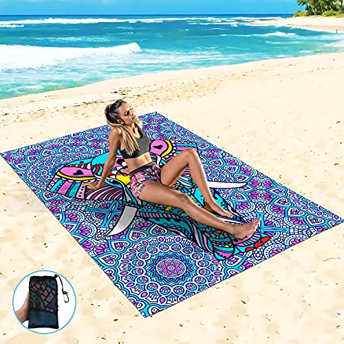 Sand Proof Beach Blanket Sand Proof Mat with Corner Pockets and Mesh Bag for Beach Party,Travel,Camping, Elephant