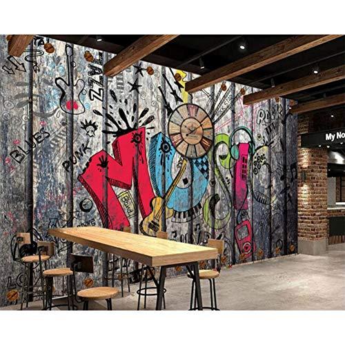 Papel pintado personalizado retro retro graffiti TV fondo pared bar restaurante KTV fondo decoración del hogar papel tapiz 3d