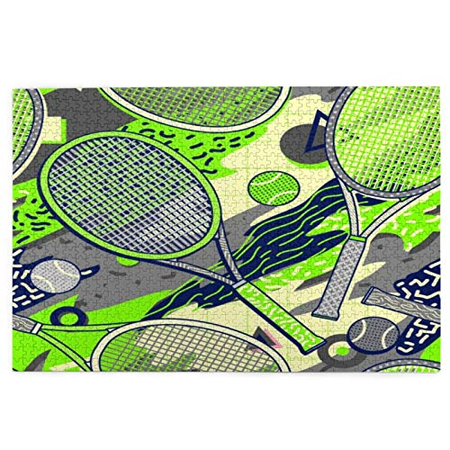 Minalo Rompecabezas de Imágenes 1000 Piezas,Colorida Raqueta y Pelota de Tenis en Estilo de diseño de Memphis,Regalo Ideal Gracioso Juego Familiar Decoración para el Hogar Colgante,29.5' x 19.7'