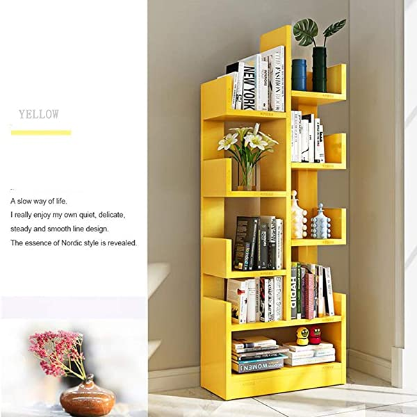 Shelves MEIDUO Bookshelf Floor Simple Modern Bookcase Children S Shelf Creative Living Room Storage Cabinet Simple Locker Space Color Yellow