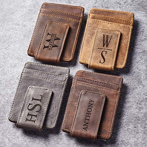 Personalized Money Clip Wallets For Men, Engraved Money Clip With Card Holder, With Name, Custom Leather Magnetic Money Clip, Customizable Wallet For Him, Money Clip With Engraving, Customized