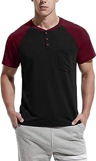 Men's Summer Casual T-Shirts Front Placket Raglan Short Sleeve Henley Shirts with Pocket