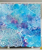 Badezimmer Duschvorhang Batik Von Ombre Blau Lila Aqua Klare Produkte Muster Wasserdicht 183X183Cm Langlebig Mit 12 Haken Duschvorhang Standard Polyester Badvorhang Modern Indoor