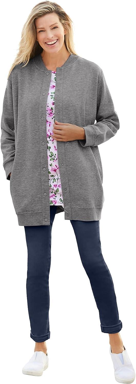 Woman Within Women's Plus Size Fleece Baseball Jacket