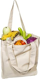 Canvas Grocery Shopping Bags with Handles Cloth Tote Bags Reusable Shopping Grocery Bags DIY Craft Organic Cotton Washable & Eco-friendly Bags