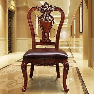 LHQ-HQ Silla de comedor American Art Leather Silla de comedor de madera de la antigüedad clásica de doble cara tallado hueco Juego de sillas de 2 for sillas de cocina (Inicio Color: Marrón, tamaño: 10