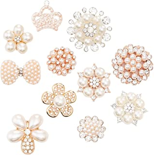 22Pcs Crystal Rhinestones Pearl Buttons, Rhinestone Flower Embellishments Button Flatback Pearl Beads DIY for Jewelry Making, Wedding DIY Supplies, Clothes, Bags, Shoes and Sew Craft Projects