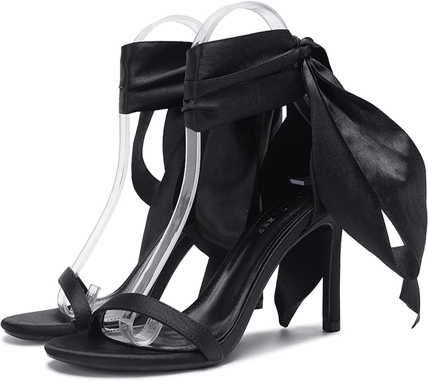 Womans Trendy Bownot Max 89% OFF Heeled Sandals Stilettos High-heel Toe Cheap mail order sales Open