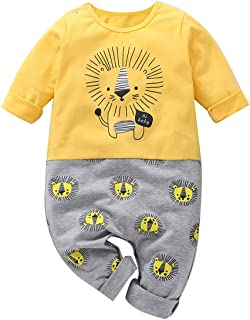 Infant Newborn Baby Boys Fall Bodysuit Long Sleeve Lion Print Rompers Clothes Jumpsuit Outfits Set