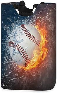 N\A Panier à Linge Abstrait Fire Water Baseball Sport Panier à Linge Pliable Grand Sac de Rangement, Sac de vêtements Orga...