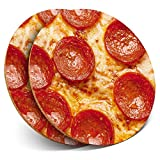 Destination Vinyl ltd Great Coasters (Set de 2) Round with - Tasty Pepperoni Pizza Junk Food Cool Drink Glossy Coasters/Tabletop Protection para Cualquier Tipo de Mesa #8440