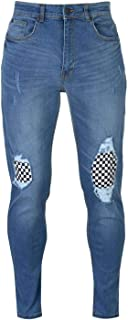 No Fear Check Knee Jeans Mens Skate Clothing Pants Trousers Bottoms Mid Wash 38W Reg Blue