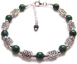 "LunarraStar Vrouwen 925 Sterling Zilver Ronde Malachiet Keltische Knotwork Edelsteen Armband Groen Verstelbare 1"" Extension"