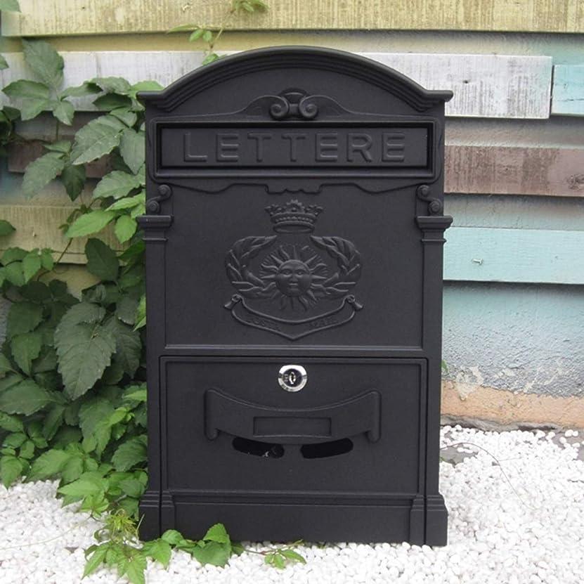 ジャグリング知覚的キャプションPLL ヨーロッパスタイルのブラックメールボックスロッククリスタルラージメールボックスの屋外クリエイティブ