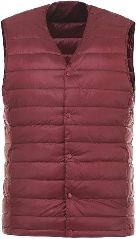 IGJMOD Men Down Vest Ultra Light Down Vest Portable V-Neck Coat Man Winter Warm Liner Wine M