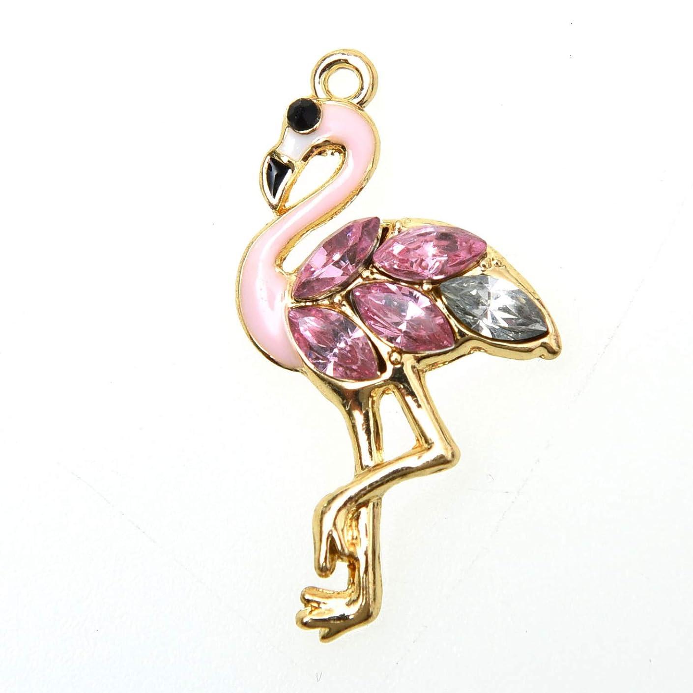 Monrocco 20 Pack Crystal Rhinestone Flamingo Enamel Charms Pendant for Bracelets Jewelry Making