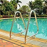 Brazos de piscina de óxido de plata de acero inoxidable pasamanos humanizados de la piscina, barandilla de 2 piscinas de acero inoxidable accesorios de instalación completos fáciles de instalar