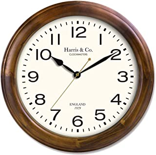 Harris & Co. Clockmasters Wooden Silent Sweep Noiseless Technology Clock (Brown)