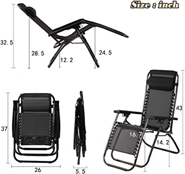 Patio Chair Outdoor Furniture Zero Gravity Chair Patio Lounge Camping Chair Set of 2 Recliner Adjustable Folding for Pool Sid