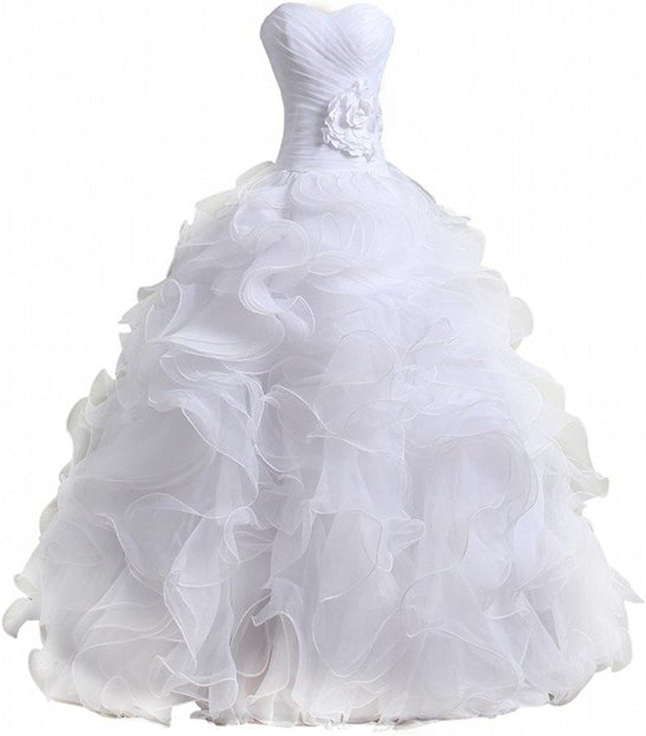 Bridal Mall Women's Organza Sweetheart Neckline Cascading Ruched Wedding Dress