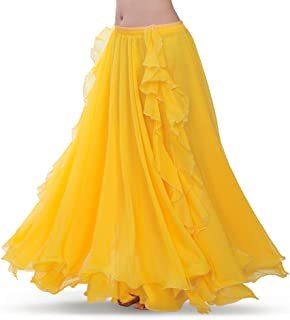 ROYAL SMEELA Chiffon Fairy Belly Dance Skirt for Women Belly Dancing Costume Two Side Split Tribal Maxi Full Skirts Voile