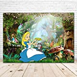 Happy Birthday Alice in Wonderland Backdrop 7x5 Fairytale Mushroom Jungle Forest Baby Shower Background for Girl Vinyl Photography Background Tea Party Banner