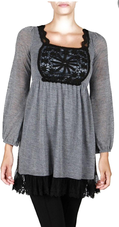 A'reve Women's Black and Grey Crochet Dress