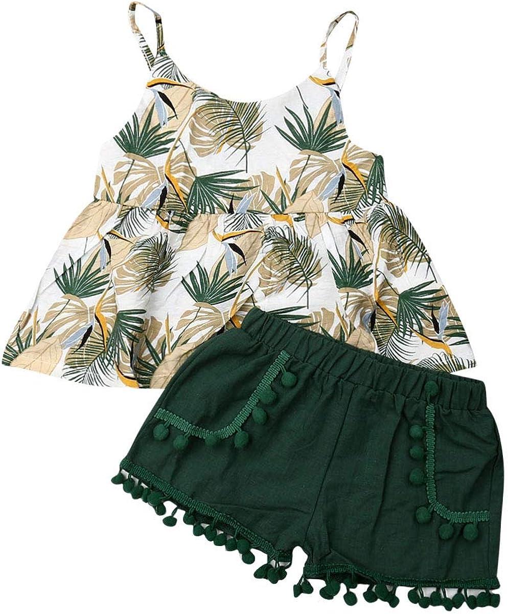 Toddler Baby Girls Sling Halter Ruffle Dress Crop Top + Green Tassel Pompoms Shorts Kids Clothes Outfits Set