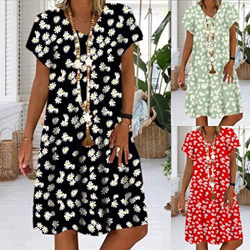 ZODOF Mujer Vestidos Casual Playa Boho Floral Maxi Vestido Bohemio Playa Color Liso Verano Suelto Vestidos Dress
