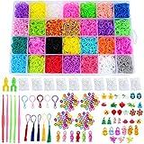 TsunNee - Set di 11,226 fasce di ricambio per bambini, 10.500 fasce colorate in 28 colori, 500 clip a S, 175 perline, 34 ciondoli, 5 uncinetti, 2 telai a Y, 5 ganci per zaino, 5 nappe