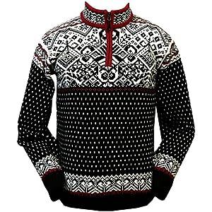 ICEWEAR Baldur Norwegian Cotton Sweater | 100% Cotton Knit Design Quarter Zipper Patterned Collar Outdoor Norwegian