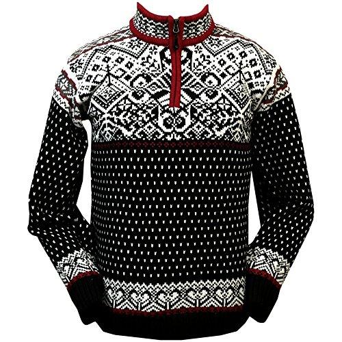 ICEWEAR Baldur Norwegian Cotton Sweater   100% Cotton Knit Design Quarter Zipper Patterned Collar Outdoor Norwegian   Black - Large